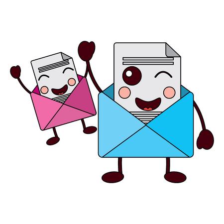 Cute pair email envelope. Cartoon characters vector illustration.