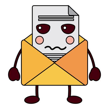 큐 이메일 봉투 편지. 만화 벡터 일러스트 레이 션.