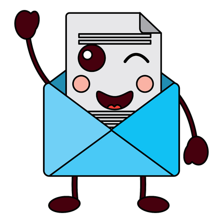 Cute email envelope letter message. Cartoon vector illustration.