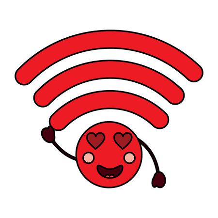 Cartoon inlove wireless internet signal kawaii character vector illustration. Illustration