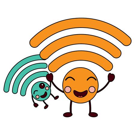 Happy cartoon internet signal character illustration
