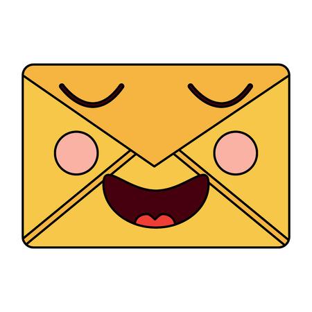 mail envelope kawaii character smiling vector illustration