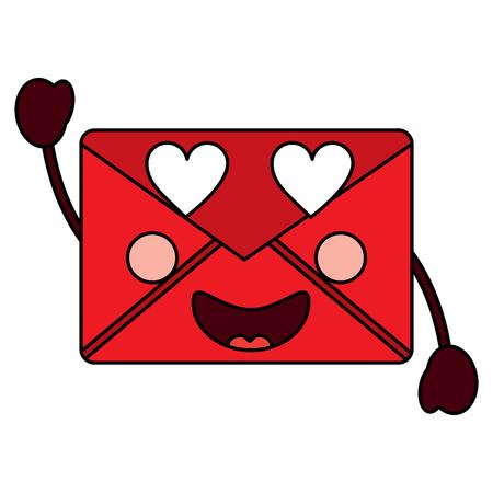 mail envelope kawaii character cartoon vector illustration