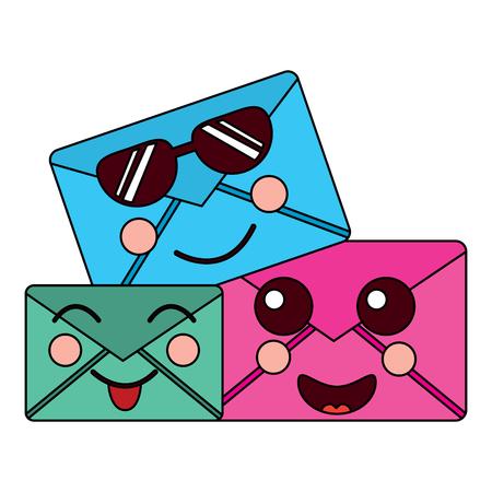 Cartoon mail envelope kawaii friendly characters vector illustration