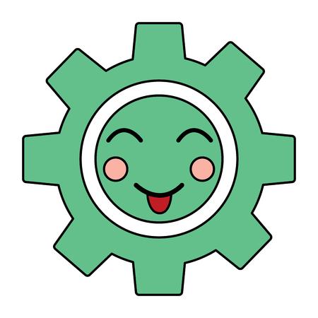 Gear machinery piece cute kawaii cartoon vector illustration
