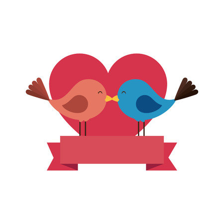 cute birds with hearts vector illustration design Ilustração