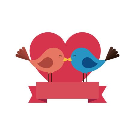 cute birds with hearts vector illustration design Illustration