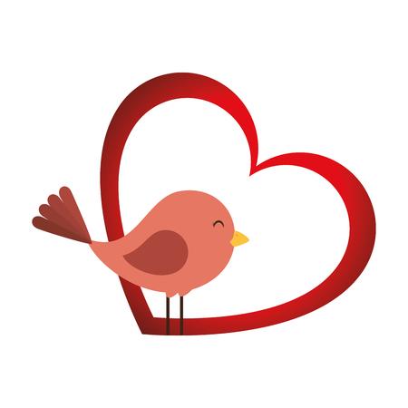 Cute bird with heart vector illustration design
