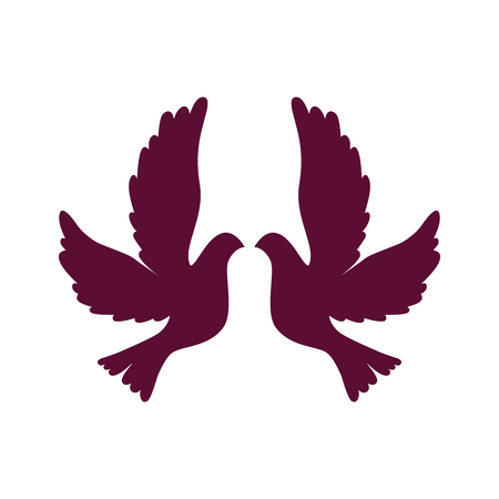 Doves flying isolated icon vector illustration design.