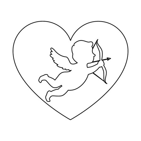 Cupid angel with heart vector illustration design