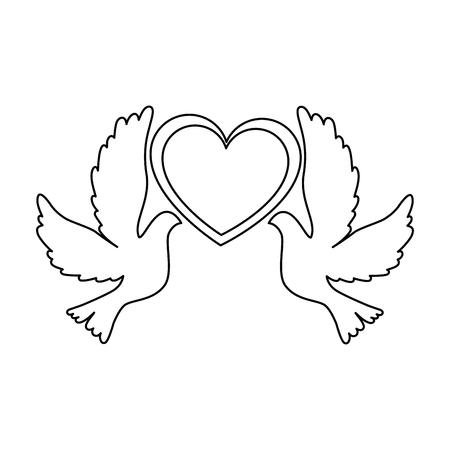 ハートアイコンベクトルイラストデザインの鳩