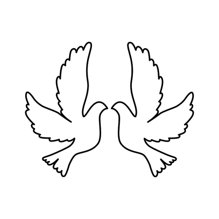 Doves flying isolated icon vector illustration design Çizim