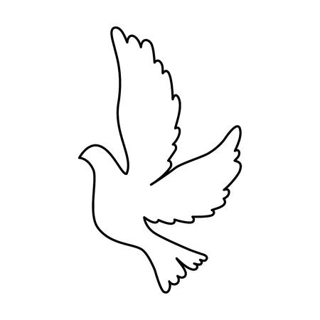 Duif die het geïsoleerde ontwerp van de pictogram vectorillustratie vliegen Vector Illustratie
