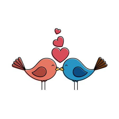 Süße Vögel mit Herzen Vektor-Illustration Design Standard-Bild - 93596032