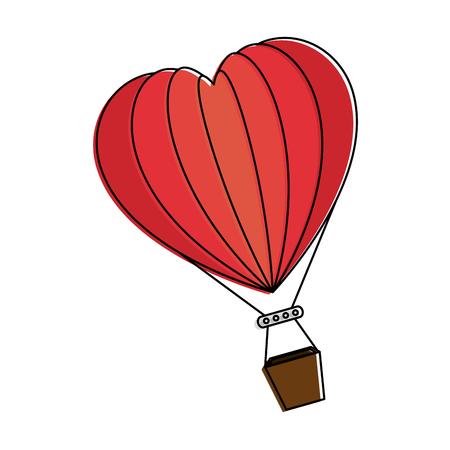 ハート型ベクトルイラストデザインで熱い風船風でロマンチックな旅