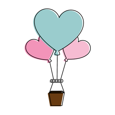 Romantic travel in balloon air hot with heart shaped vector illustration design Illustration
