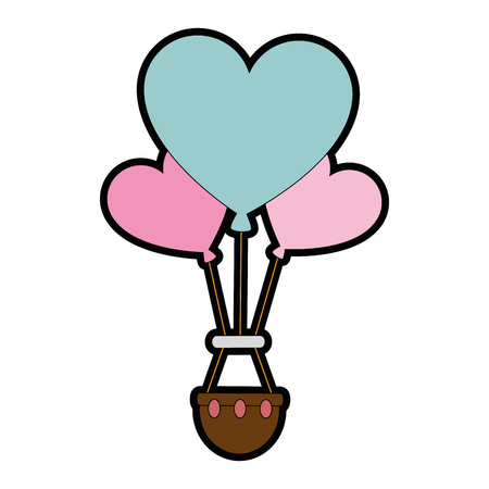 Romantic travel in balloon air hot with heart shaped vector illustration design Çizim