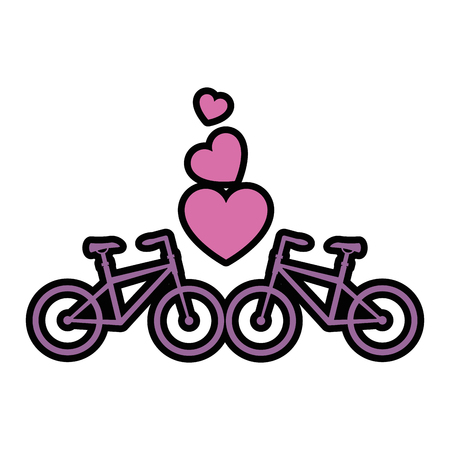 Bikes with love hearts vector illustration design