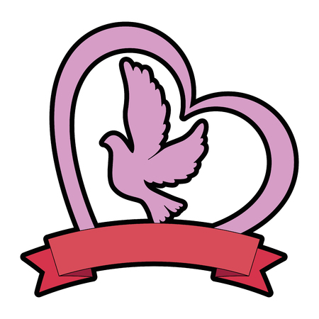 Dove with heart icon vector illustration design
