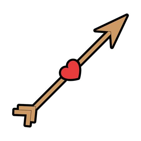 심장 아이콘이있는 화살표