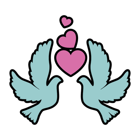Doves with heart icon vector illustration design