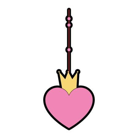 hart met kroon opknoping decoratieve pictogram vector illustratie ontwerp Stock Illustratie