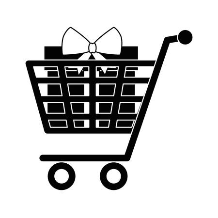 Shopping cart with giftbox present icon vector illustration design Ilustração