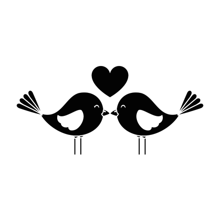 Cute birds with hearts vector illustration design  イラスト・ベクター素材