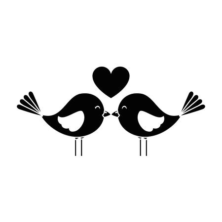 Leuke vogels met ontwerp van de harten het vectorillustratie