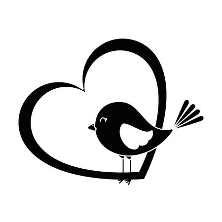 Netter Vogel mit Herz-Design Standard-Bild - 93515030