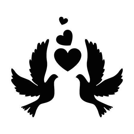 Vogels met hart pictogram Stock Illustratie