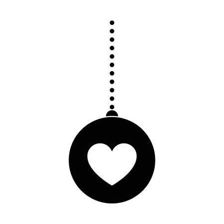 Ball with heart hanging decorative icon