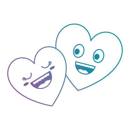 Hearts couple kawaii characters Illustration