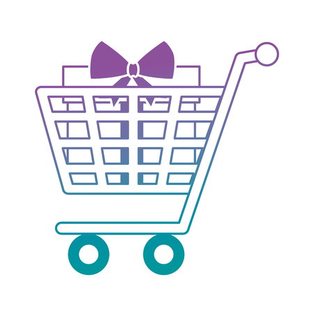 shopping cart with giftbox present icon vector illustration design