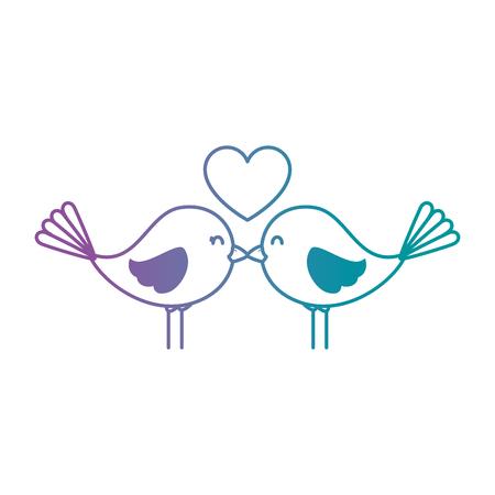 Süße Vögel mit Herzen Vektor-Illustration Design Standard-Bild - 93515119