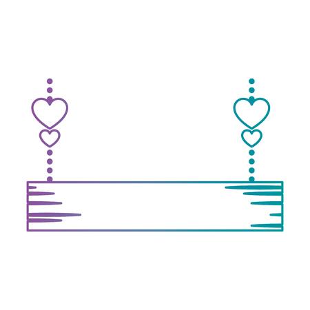 houten bord met harten opknoping decoratieve pictogram vector illustratie ontwerp