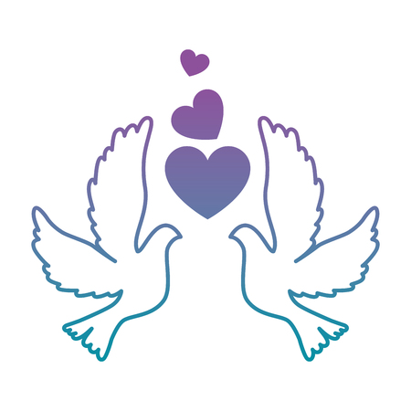 doves with heart icon vector illustration design Illustration