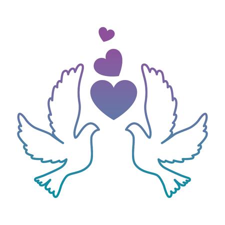duiven met hart pictogram vector illustratie ontwerp