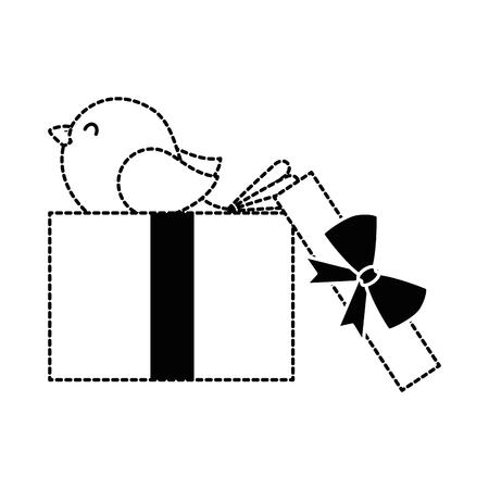 Gift box present with bird