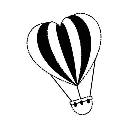 ハート型熱気球  イラスト・ベクター素材