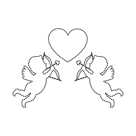Cupid angels with heart