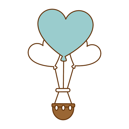 Romantic travel in balloon air hot with heart shaped vector illustration design Ilustração