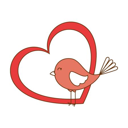 Cute bird with heart Ilustração