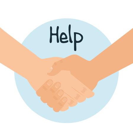 Handshake human help icon vector illustration design