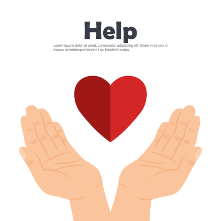 hands with heart help vector illustration design 向量圖像