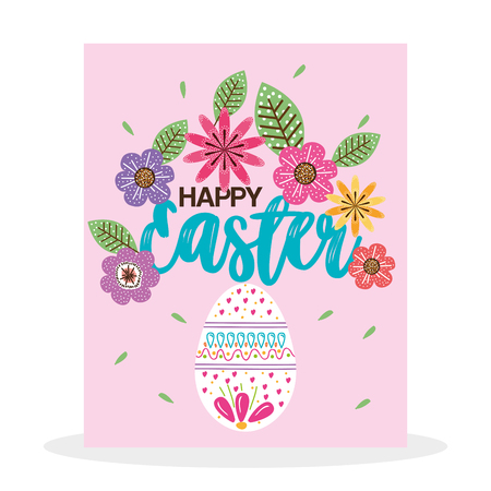 Eggs paint and flowers Easter season vector illustration design.
