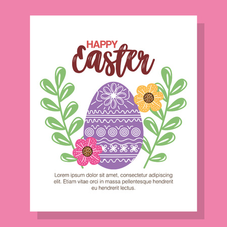 Eggs painted and flowers Easter season vector illustration design