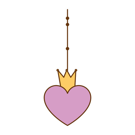 Heart with crown hanging decorative icon. Vector illustration design.
