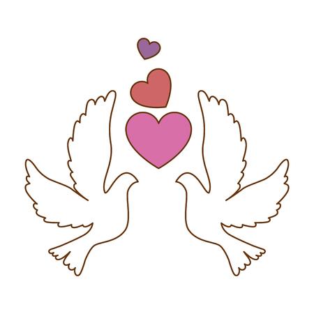 Tauben mit Herz-Symbol Vektor-Illustration Design Standard-Bild - 93523023