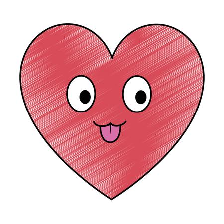 cute heart character vector illustration design Ilustracja